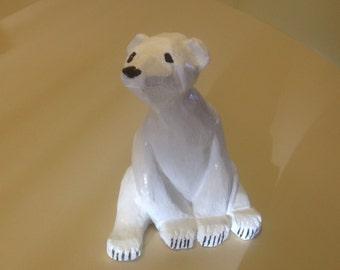 Hand carved polar bear, polar bear carving, bear carving, wood carving, carved polar bear, polar bear, carved bear, wood carvings, handmade