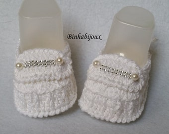 crochet booties christening moccasin type