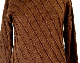SALE! Hand Knitted Pullover, Sweater for women, Brown Sweater, Knit Gift, Warm Sweater, Warm Knit Clothing, Winter Sweater, Handmade Sweater