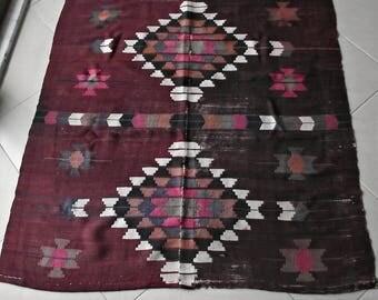 Vintage Navajo Rug 5x4 ft, Rustic Brown Southwestern Rug, Saddle Blanket Old Wall Hanging, Small Wool Rug, Bench Throw Rug, Flatweave Rug