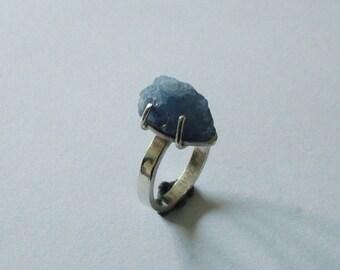 Silver ring with nub raw dolomite