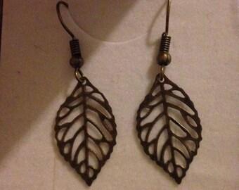 fine handmade fine leaf, feather bronze coloured drop earrings