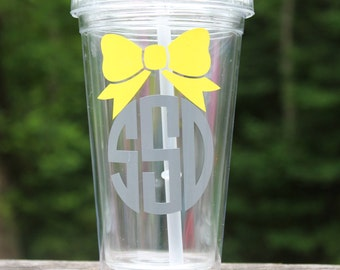 Clear Monogram tumbler with straw 16 oz