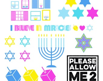 Hanukkah Miracle Clip Art: Digital or Printable for Scrapbooks, Party Invites, Decor, Crafts, Card Making, Small Gift Wrap,  & More!
