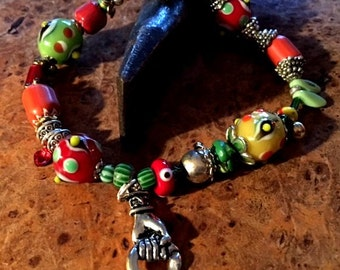 Steampunk Bracelet,Handcrafted Beaded Bracelet,Whimsical Bracelet,Lampwork Glass,Bumpy Beaded Bracelet,Chevron Beads,Hand Charm,Handmade