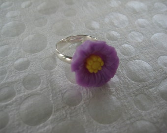 Girls Adjustable Ring, Adjustable Ring, Party Favors, Gift, Girls, Teens, Purple, Yellow, Flower Ring   /G108