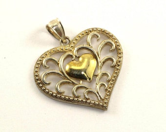 Vintage Heart Shape Scroll Design Gold Tone Pendant 925 Sterling Silver PD 77