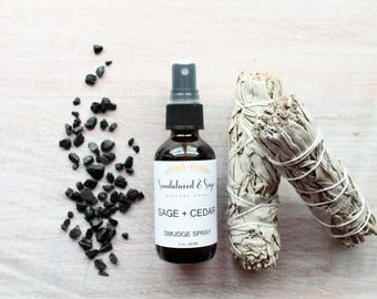 Sage & Cedar Smudge Spray // Sage Spray // Energy Clearing Spray // Cedar Spray // Aura Cleanser // Reiki Spray // Protecting Spray //