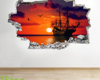 Pirate Ship Wall Sticker 3d Look - Bedroom Lounge Sea Sunset Wall Decal Z271