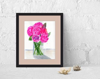 Peonies in a Vase, Flower Watercolor Abstract Painting Fine Art Print, Giclee Print Abstract Print, Watercolor Painting Print