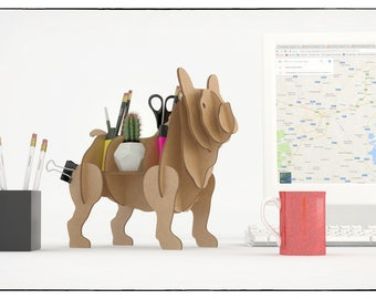 FRENCH BULLDOG  Dog Cardboard Organizer Shelving 3D Puzzle Paper Laser cut recycled Shelf Pastime sculptur animal forms stands desk shelves