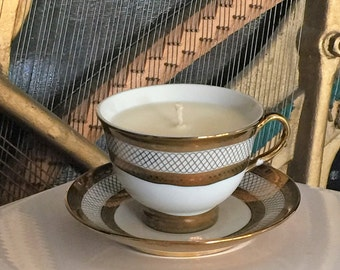Vintage Gold Pattern Teacup Candle
