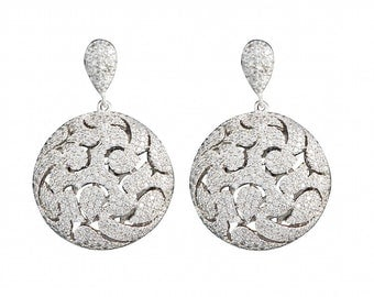 Vintage earrings ,Rhodium jewelry with great care.zircon aaa Amazing earrings for every occasion