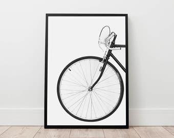 Bicycle Print - Scandinavian Wall Art, Digital Download, Printable Photo, Vintage Bike Print, Wheel Print, Black Bike Art, Modern Prints