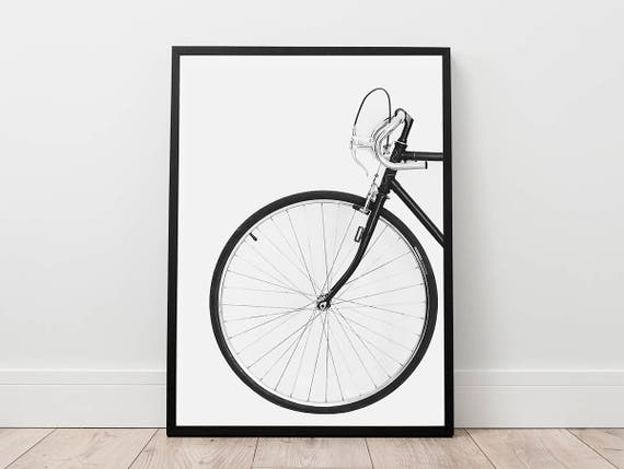 Bicycle print scandinavian wall art digital download for Bicycle wheel wall art