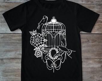 Bird cage shirt, bird shirt, bird tattoo, birds tee, tattoo shirt, classic tattoo art, old school shirt, hipster gift, gift for tattoo lover