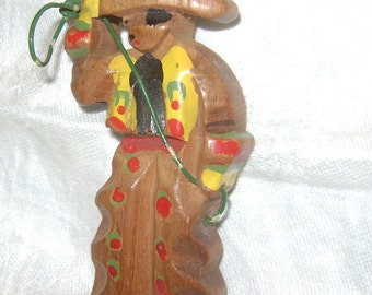 vintage 1940s Hand carved and Hand painted COWBOY with LASSO Pin - Wooden