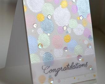 Beautiful Congratulations card - Confetti, Bubbles, Celebration, Wedding, Anniversary, Engagement, fun, elegant, shining, sparkly, metallic