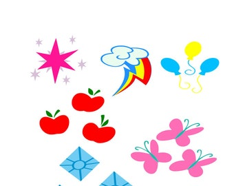 My Little Pony Cutie Marks svg, main six svg, rainbow dash svg,fluttershy svg,applejack svg,rarity svg,pinkie pie sg,twilight sparkle svg,