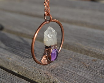 Clear Quartz Crystal,Amethyst Facet Necklace Circle Pendant/BOHO/Electroformed Jewelry/Crystal Pendant/Copper/Raw Organic/California Quartz