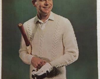 Men's cricket jumper or pullover - Vintage Petone knitting pattern leaflet 5001