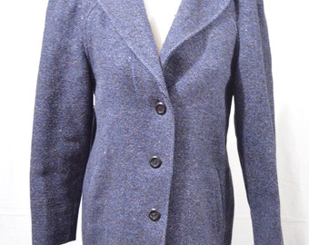 Vintage International Scene Size Small (7/8) Blue Tweed Wool Button Front Coat