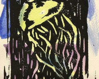 Jellyfish Linocut