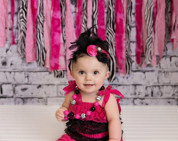 SALE!!! Baby Girls Outfit, Hot Pink romper, pink and black, photo prop, birthday romper, petti romper, cake smash, feather headband