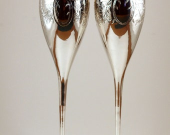 International Silver Co. Silver Etched Champagne Flutes, Vintage Champagne Flutes, Wedding Champagne Flutes, Valentine's Champagne Flutes