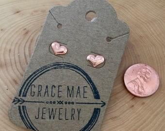 Tiny Copper Heart Earrings