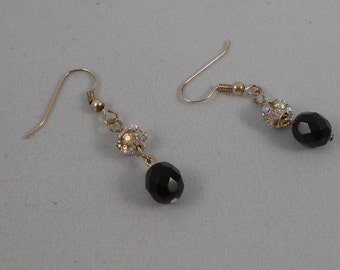 Drop earrings, black faceted glass beads featuring sparkly dragon ball beads
