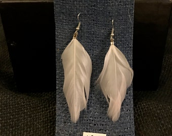 White Feather Earings