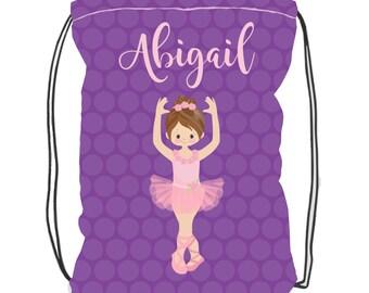 Personalized Dance Bag- Ballet Bag- Toddler Ballet Bag-  Backpack Drawstring - Dance Bag- Ballerina Bag