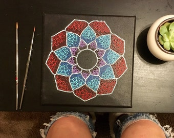 Handpainted Pointilism Mandala