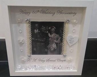 60th Wedding Anniversary Gift, Anniversary Frame, Diamond Wedding Gift, Anniversary Gift, 60 Years Married