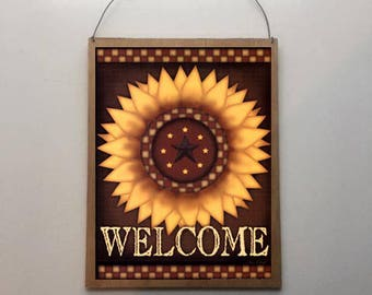 9x7 Sunflower Welcome Home Decor Sign with Choice of Black, Brown, Yellow or Rusty Tin Hanging Wire