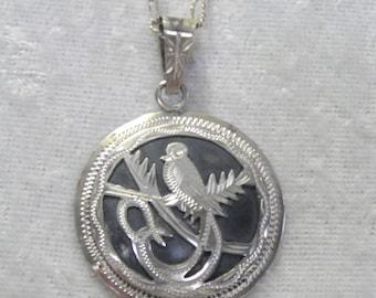 Silver Necklace & Fancy Bird Motif Pendant