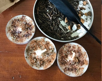 Six Handmade Money tea light candles,Meditation herb candles,Herb infused tea light, tea light,spell candles, wiccan candles, Ritual candles