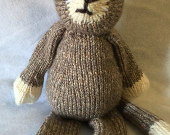 Gray and Tan Knitted Cat Stuffed Animal