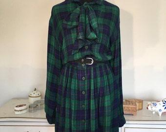 80s winter plaid secretary dress