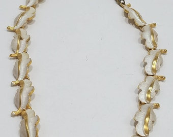 Beautiful Enameled Gold Tone Leaf Necklace