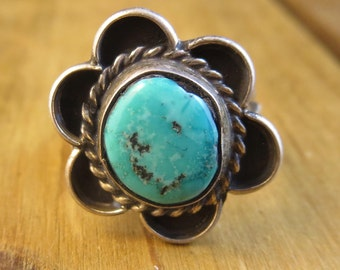 Old Pawn Southwest Turquoise Ring Vintage Size 6 Native American 1940's Sterling Silver