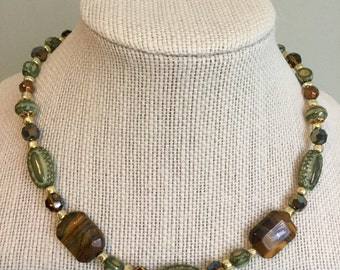 """Upcycled Vintage Beads -  """"Forest""""  Beaded Necklace - Made with Vintage/ Recycled Materials"""