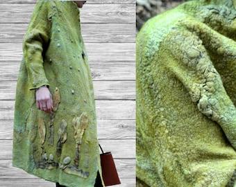 Women coat, Felted jacket, Felted coat,  Hand made, Olive Green, Wearable art, Nuno felted, Designer,  Eco-fashion, Wool Coat, Warm coat,