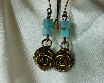 Beautiful Turquoise and Rose Earings