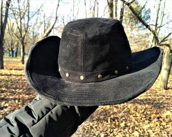 Cowboy vintage hat black Cowboy hat Western hat rancher hat cotton Boys gift stetson hat black velvet hat corduroy hat black costume hat