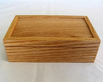 Wooden Red Oak Keepsake Box with Removable Lid
