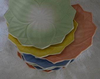 Vintage Set of Dessert Plates Blue Green Yellow Peach