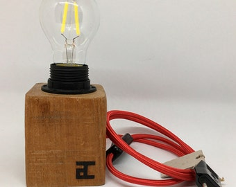 Wood lamp, lamp block wood, Wood Lamp, Wood Block, Cable textile Color, handmade, design lamps