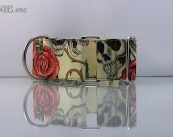 """DOG COLLAR MARTINGALE model """"skull & rose"""". Necklace for but adjustable."""